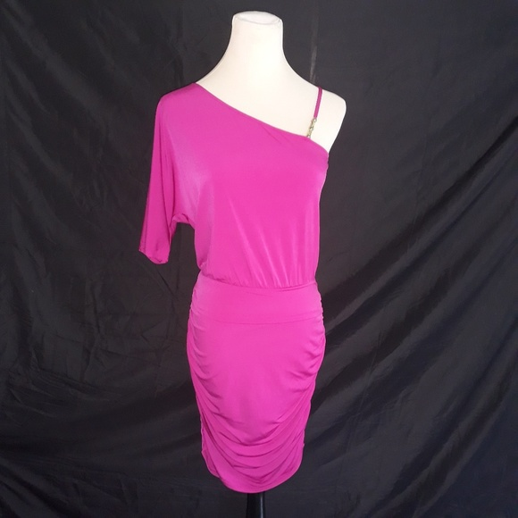 Boston Proper Dresses & Skirts - Boston Proper One Shoulder Ruched Dress Fuchsia 2